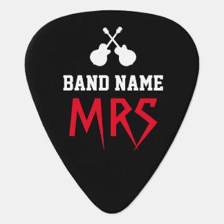 rock band name & guitarist initials black guitar pick