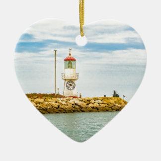 Rock Breakwater Salinas Ecuador Ceramic Heart Ornament