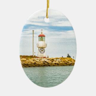 Rock Breakwater Salinas Ecuador Ceramic Oval Ornament
