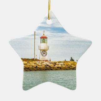Rock Breakwater Salinas Ecuador Ceramic Star Ornament