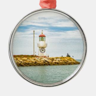 Rock Breakwater Salinas Ecuador Silver-Colored Round Ornament