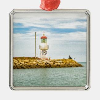 Rock Breakwater Salinas Ecuador Silver-Colored Square Ornament