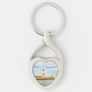 Rock Breakwater Salinas Ecuador Silver-Colored Twisted Heart Keychain
