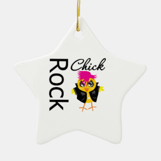 Rock Chick Double-Sided Star Ceramic Christmas Ornament