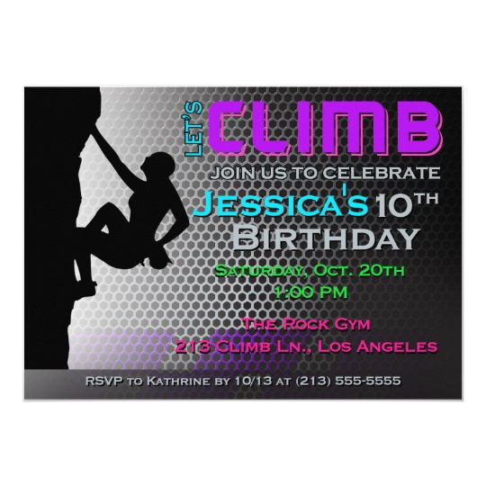 Rock Climbing Birthday Invitation - Let's Climb
