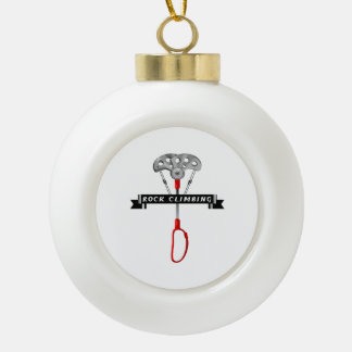 Rock Climbing cam and banner. Ceramic Ball Christmas Ornament