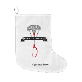 Rock Climbing cam and banner. Large Christmas Stocking