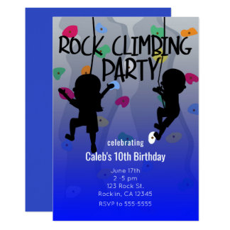 Rock Climbing Party Birthday Invitations
