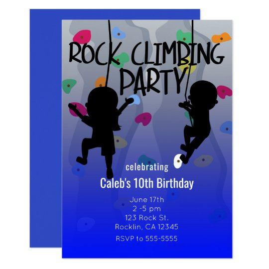 Rock Climbing Party Birthday Invitations