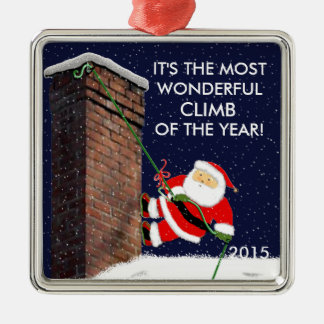 Rock Climbing Santa Silver-Colored Square Ornament