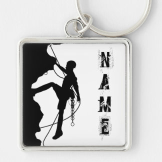 "Rock Climbing Silhouette Large (2.00"") Square Keyc Silver-Colored Square Keychain"
