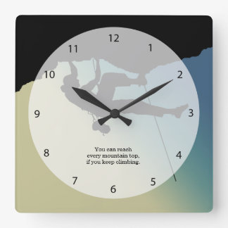 Rock Climbing Square Wall Clock