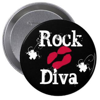 Rock Diva In Black Button Pin