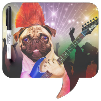 Rock dog - pug party - pug guitar - dog rocker dry erase board