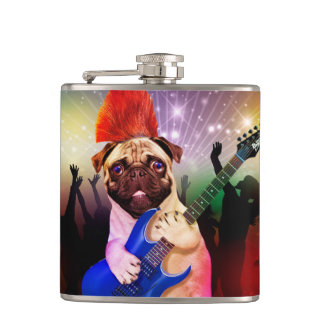 Rock dog - pug party - pug guitar - dog rocker hip flask