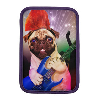 Rock dog - pug party - pug guitar - dog rocker iPad mini sleeve