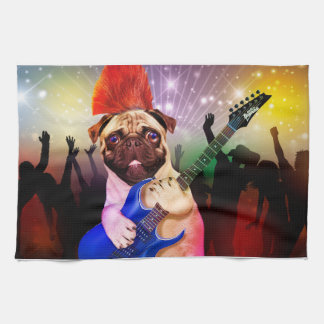 Rock dog - pug party - pug guitar - dog rocker kitchen towel
