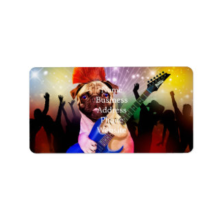 Rock dog - pug party - pug guitar - dog rocker label
