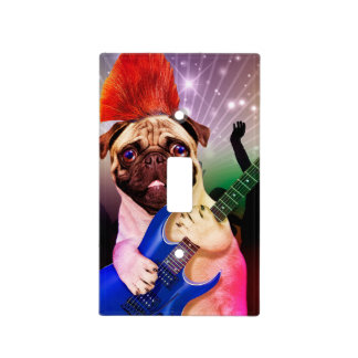 Rock dog - pug party - pug guitar - dog rocker light switch cover