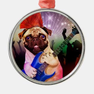 Rock dog - pug party - pug guitar - dog rocker metal ornament