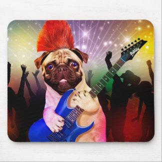 Rock dog - pug party - pug guitar - dog rocker mouse pad