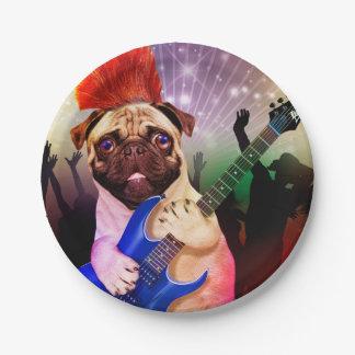 Rock dog - pug party - pug guitar - dog rocker paper plate