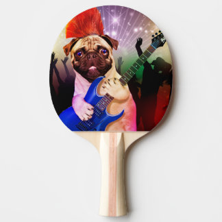 Rock dog - pug party - pug guitar - dog rocker ping pong paddle