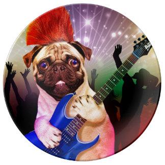 Rock dog - pug party - pug guitar - dog rocker plate