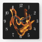 Rock fire sign square wall clock