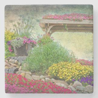 rock garden with trellis stone coaster