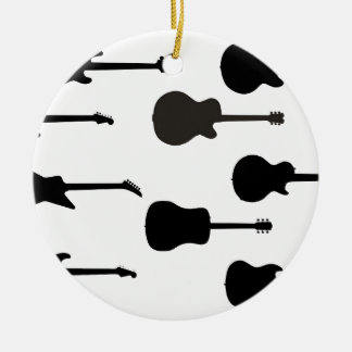 Rock Guitar Silhouettes Round Ceramic Ornament