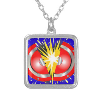 Rock Guitar Speaker Explosion Silver Plated Necklace