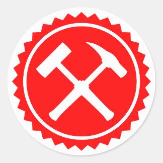 Rock Hammer Badge (Red) Round Sticker
