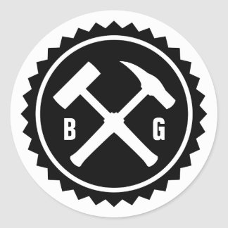 Rock Hammer Badge (Two Initials) Classic Round Sticker