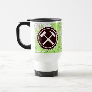 Rock Hammer Badge with Topo Map Travel Mug