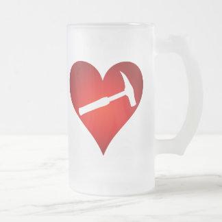Rock Hammer Heart (Left-Handed) Frosted Glass Beer Mug
