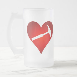 Rock Hammer Heart (Right-Handed) Frosted Glass Beer Mug