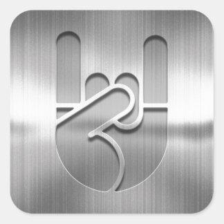 Rock Hand Steel Square Sticker