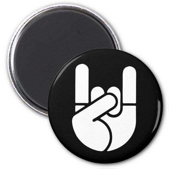 Rock Hand Stencil 2 Inch Round Magnet