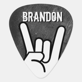Rock Hand With Your Name Guitar Pick