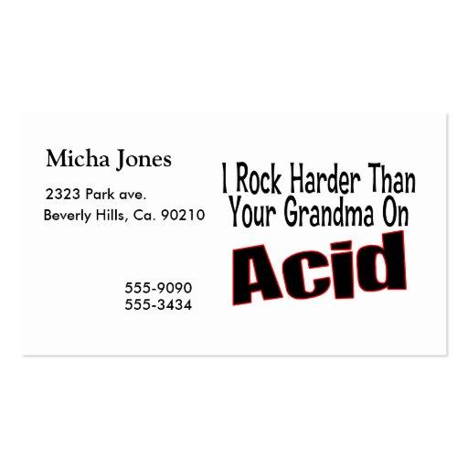 Rock Harder Than Grandma Business Card Templates