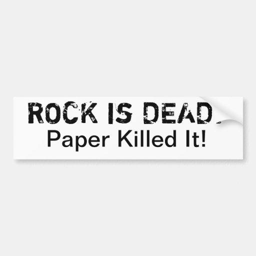 Rock is Dead! Paper Killed It White Bumper Sticker
