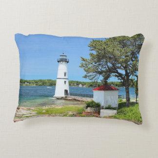 Rock Island Lighthouse, New York Accent Pillow