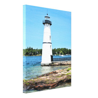 Rock Island Lighthouse, New York Wrapped Canvas