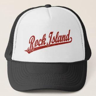 Rock Island script logo in red distressed Trucker Hat