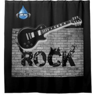 Rock Music Guitar Black Showercurtain