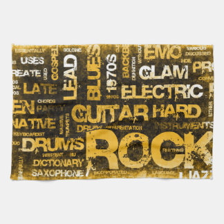 Rock Music Party Invitation as Poster Art Kitchen Towel