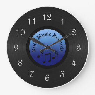 Rock Music Record Round Wall Clock