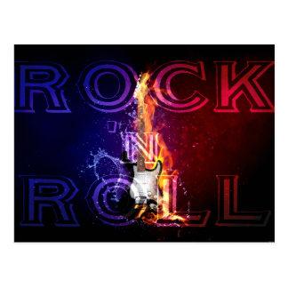 Rock n Roll Fire Flaming Electric Guitar Music Postcard