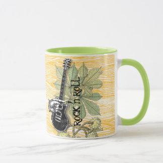 Rock n Roll Guitar Barnwood Typography Retro Hand Mug